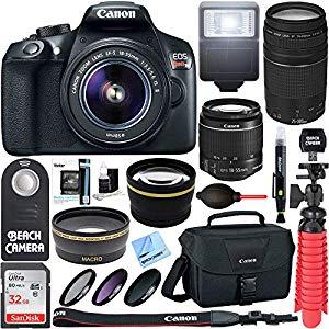 Canon T6 EOS Rebel DSLR Camera w/ EF-S 18-55mm IS II & 75-300mm III Lens Kit – Great camera